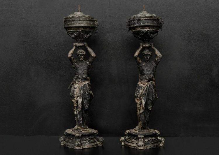 A pair of caryatid figures