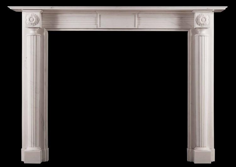 An English, Regency style fireplace in white marble