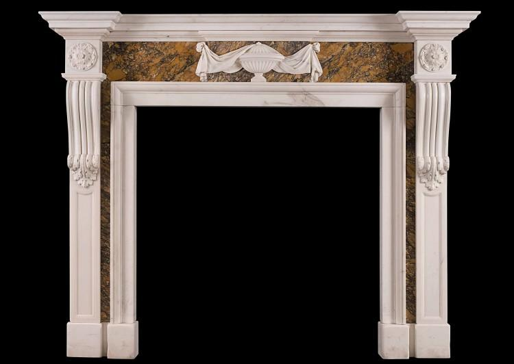 A Georgian style chimneypiece in Statuary and Siena marble