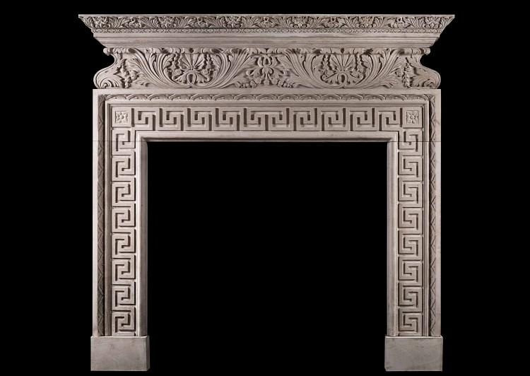 A carved Italian fireplace in Portland stone