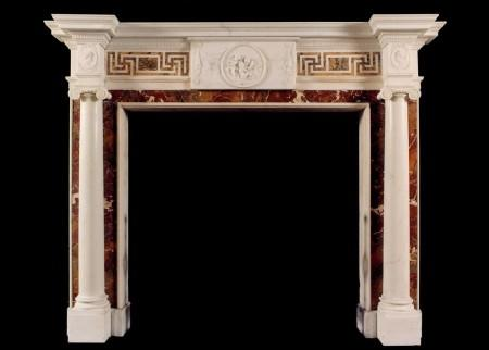 AN ANTIQUE ENGLISH STATUARY FIREPLACE WITH INLAID SIENNA AND JASPER MARBLE