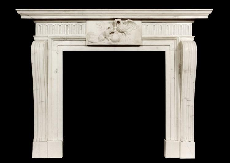 A well carved Antique English Statuary white Marble Fireplace