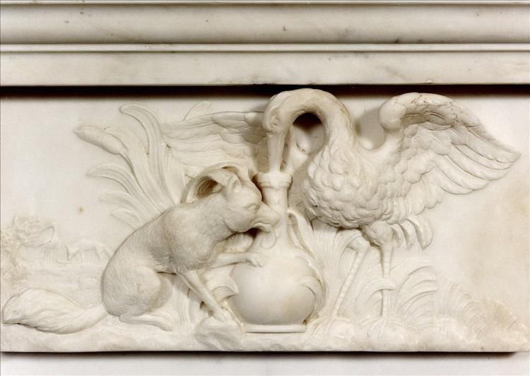 A WELL CARVED ANTIQUE ENGLISH STATUARY WHITE MARBLE FIREPLACE-Detail1
