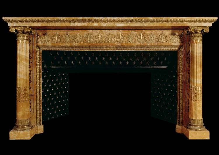 An important early French Napoleonic Empire Sienna marble fireplace