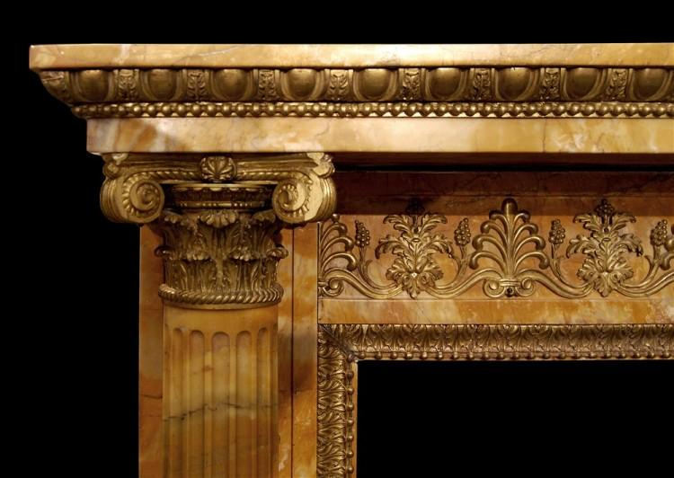 AN IMPORTANT EARLY FRENCH NAPOLEONIC EMPIRE SIENNA MARBLE FIREPLACE-Detail1