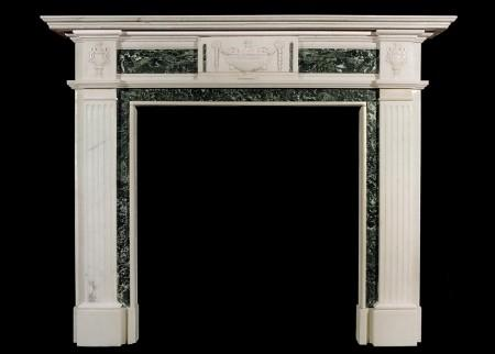 AN ENGLISH GEORGIAN STYLE STATUARY AND TINOS GREEN ANTIQUE MARBLE FIREPLACE