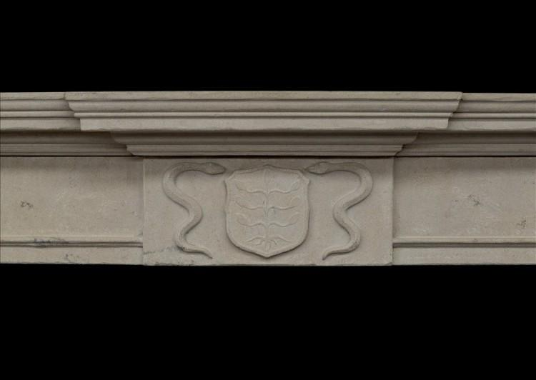 A 19TH CENTURY ENGLISH LIMESTONE FIREPLACE-Detail1