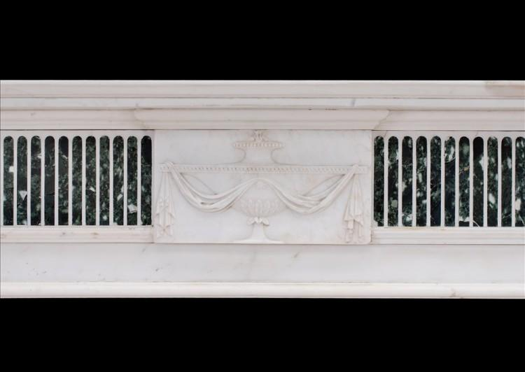 A GEORGE III STYLE ENGLISH STATUARY MARBLE FIREPLACE WITH INLAID TINOS MARBLE-Detail1