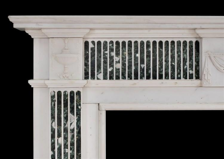 A GEORGE III STYLE ENGLISH STATUARY MARBLE FIREPLACE WITH INLAID TINOS MARBLE-Detail2