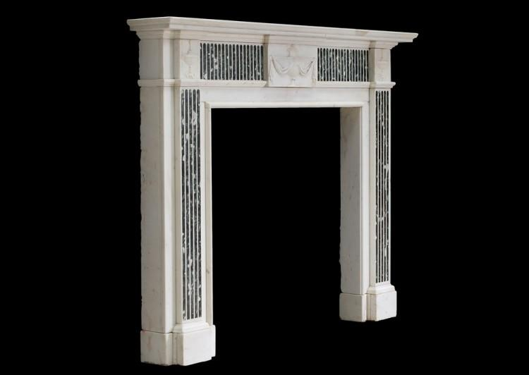 A GEORGE III STYLE ENGLISH STATUARY MARBLE FIREPLACE WITH INLAID TINOS MARBLE-Detail3