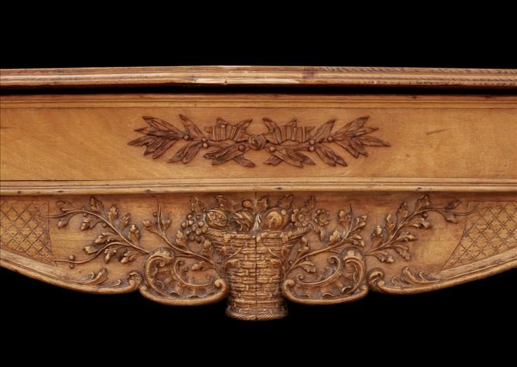 A LATE 19TH / EARLY 20TH CENTURY ENGLISH CARVED WOOD FIREPLACE-Detail1