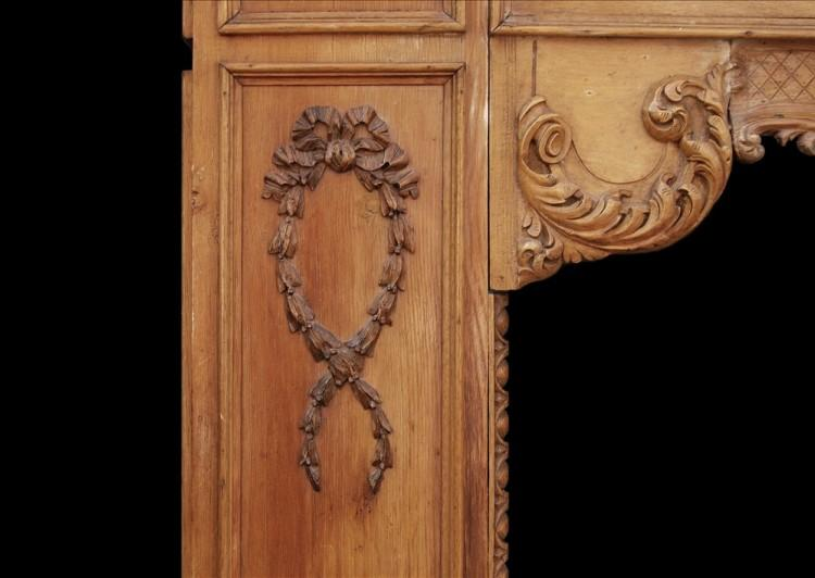 A LATE 19TH / EARLY 20TH CENTURY ENGLISH CARVED WOOD FIREPLACE-Detail2