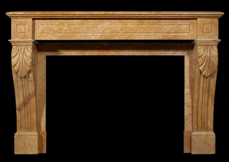 A 19th century French Louis Philippe yellow marble fireplace