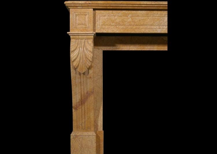 A 19TH CENTURY FRENCH LOUIS PHILIPPE YELLOW MARBLE FIREPLACE-Detail1