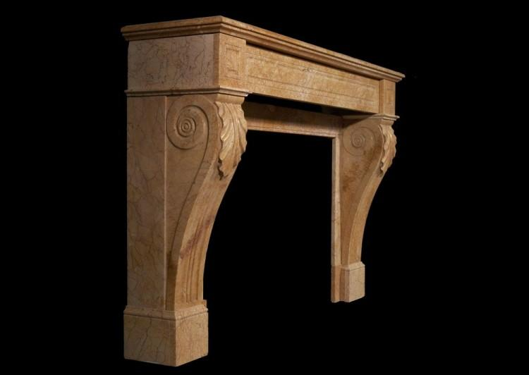 A 19TH CENTURY FRENCH LOUIS PHILIPPE YELLOW MARBLE FIREPLACE-Detail2