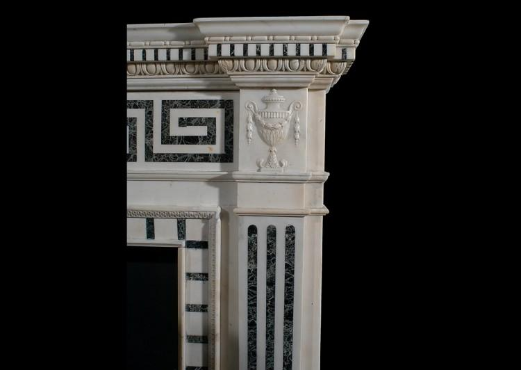 A 19TH CENTURY ENGLISH STATUARY AND INLAID TINOS MARBLE FIREPLACE-Detail1