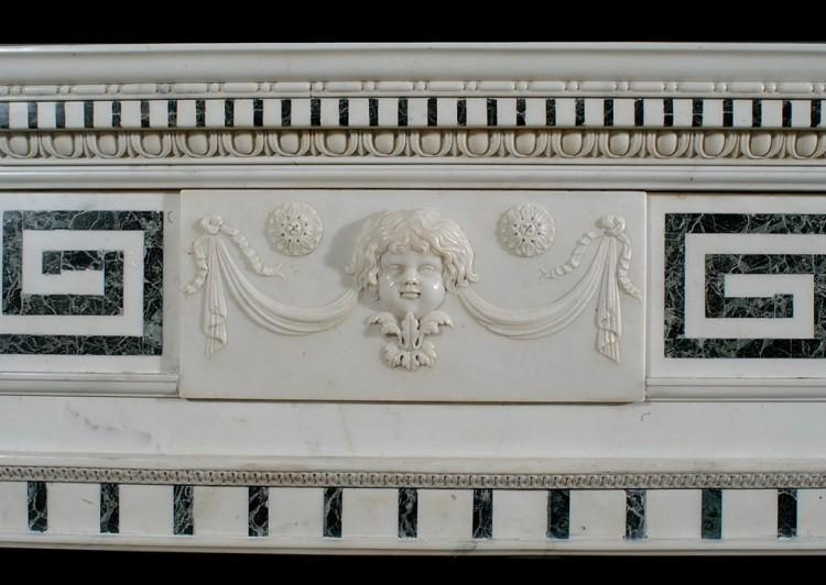 A 19TH CENTURY ENGLISH STATUARY AND INLAID TINOS MARBLE FIREPLACE-Detail2