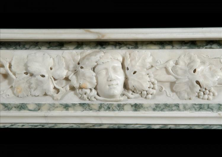 A 19TH CENTURY ENGLISH STATUARY AND VERT D'ESTOURS MARBLE FIREPLACE-Detail1