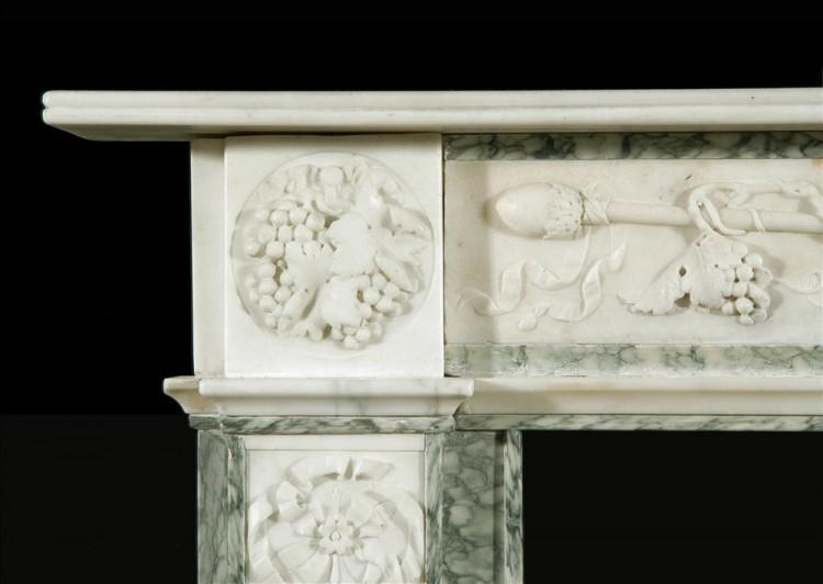 A 19TH CENTURY ENGLISH STATUARY AND VERT D'ESTOURS MARBLE FIREPLACE-Detail2