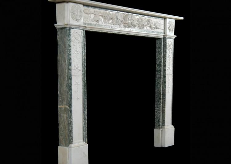 A 19TH CENTURY ENGLISH STATUARY AND VERT D'ESTOURS MARBLE FIREPLACE-Detail3