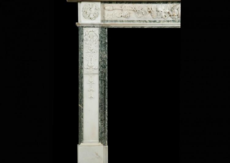 A 19TH CENTURY ENGLISH STATUARY AND VERT D'ESTOURS MARBLE FIREPLACE-Detail4