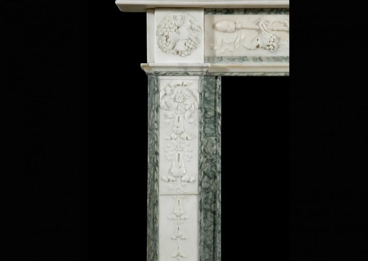 A 19TH CENTURY ENGLISH STATUARY AND VERT D'ESTOURS MARBLE FIREPLACE-Detail5