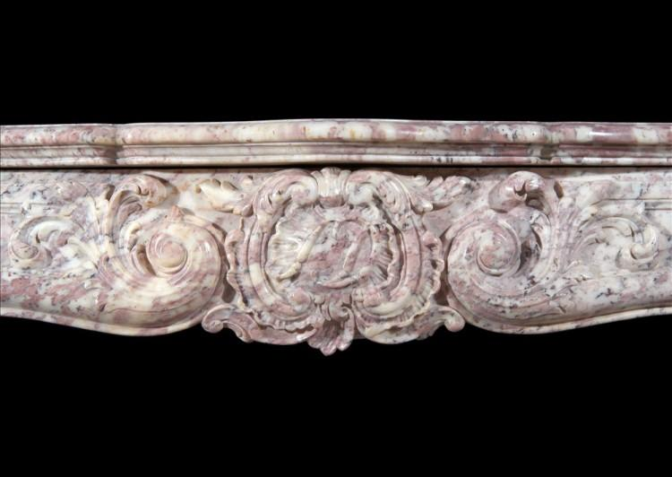 AN 18TH CENTURY FRENCH LOUIS XV ROSE BOREAL MARBLE FIREPLACE-Detail1