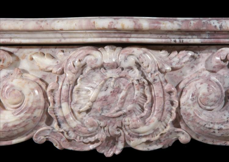 AN 18TH CENTURY FRENCH LOUIS XV ROSE BOREAL MARBLE FIREPLACE-Detail2