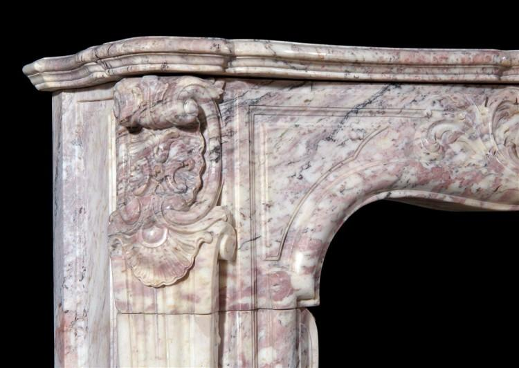 AN 18TH CENTURY FRENCH LOUIS XV ROSE BOREAL MARBLE FIREPLACE-Detail3