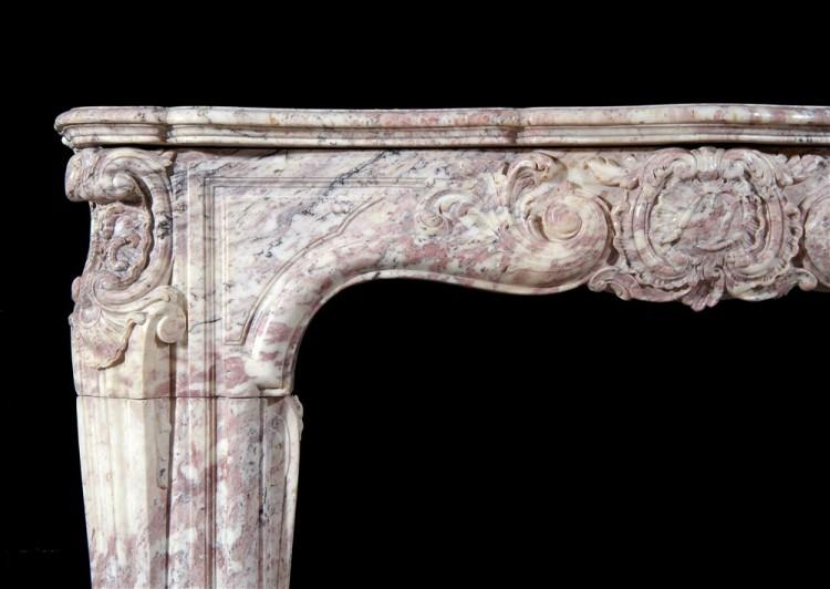 AN 18TH CENTURY FRENCH LOUIS XV ROSE BOREAL MARBLE FIREPLACE-Detail4