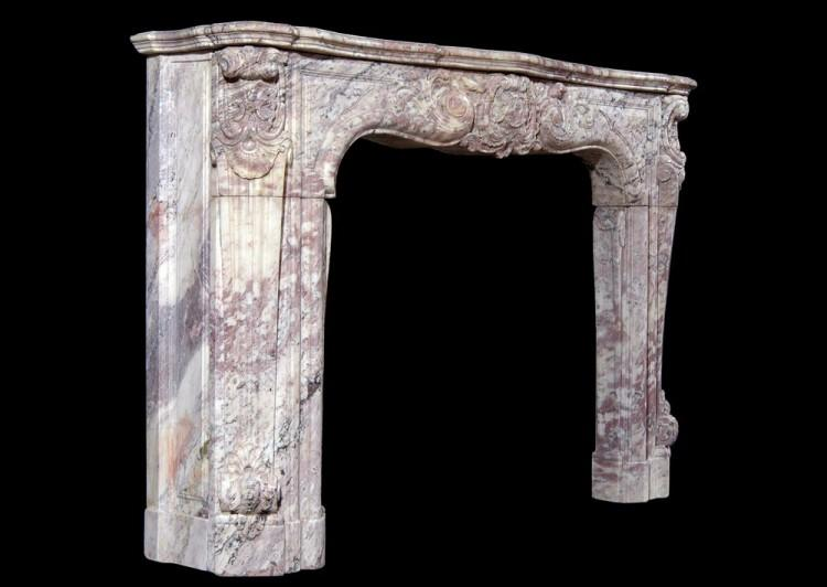 AN 18TH CENTURY FRENCH LOUIS XV ROSE BOREAL MARBLE FIREPLACE-Detail5