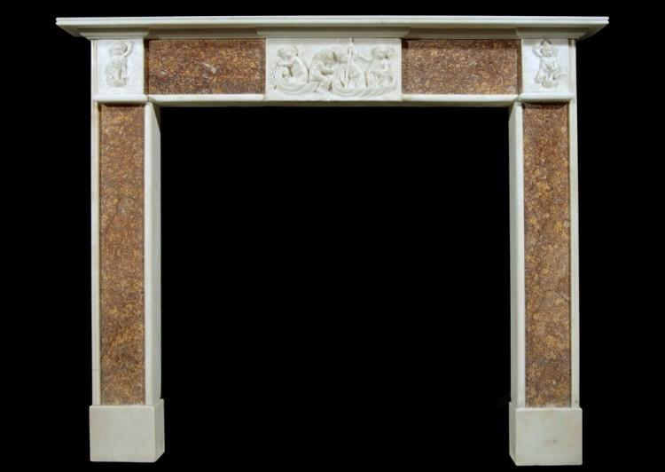 A 19th century English Brocatelle and Statuary marble chimneypiece