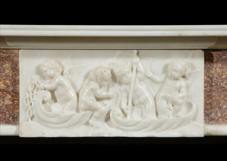A 19TH CENTURY ENGLISH BROCATELLE AND STATUARY MARBLE CHIMNEYPIECE-Detail1