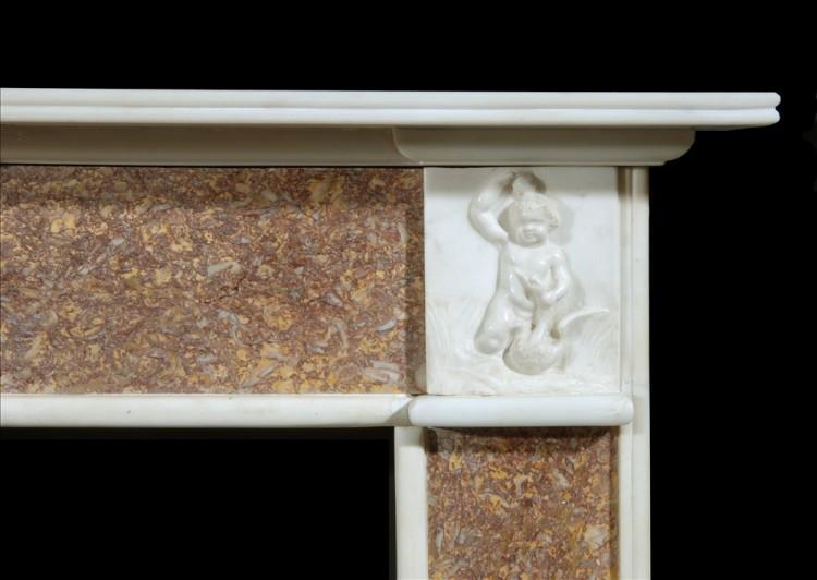 A 19TH CENTURY ENGLISH BROCATELLE AND STATUARY MARBLE CHIMNEYPIECE-Detail2