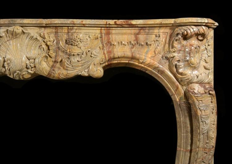 A SUPERB QUALITY FRENCH LOUIS XV STYLE CARVED SARRANCOLIN MARBLE FIREPLACE-Detail2