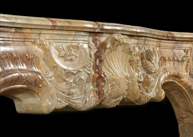 A SUPERB QUALITY FRENCH LOUIS XV STYLE CARVED SARRANCOLIN MARBLE FIREPLACE-Detail4
