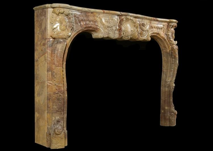 A SUPERB QUALITY FRENCH LOUIS XV STYLE CARVED SARRANCOLIN MARBLE FIREPLACE-Detail5