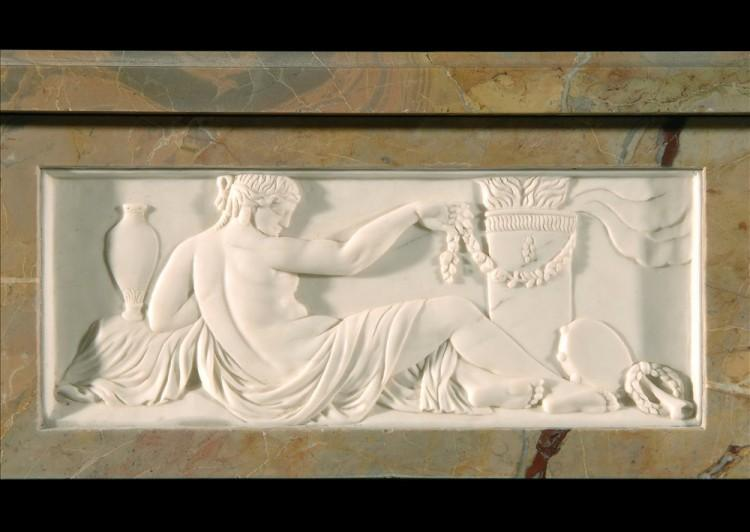 A SARRANCOLIN FRENCH LOUIS XVI STYLE MARBLE FIREPLACE-Detail1