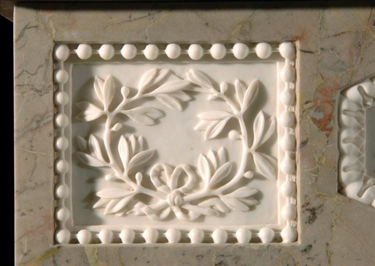 A SARRANCOLIN FRENCH LOUIS XVI STYLE MARBLE FIREPLACE-Detail2