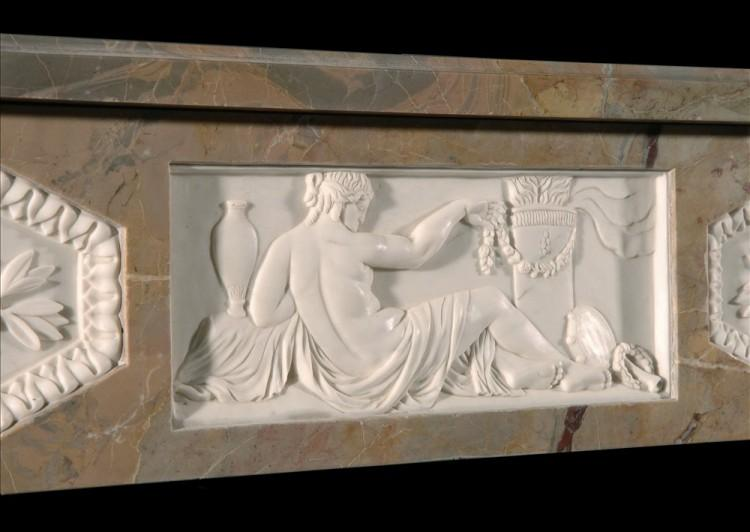 A SARRANCOLIN FRENCH LOUIS XVI STYLE MARBLE FIREPLACE-Detail4
