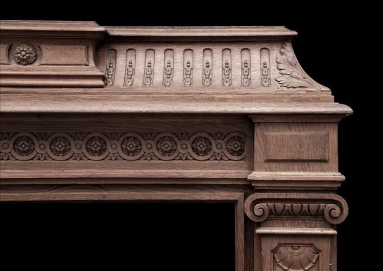 A 19TH CENTURY ANTIQUE FRENCH OAK FIREPLACE-Detail2