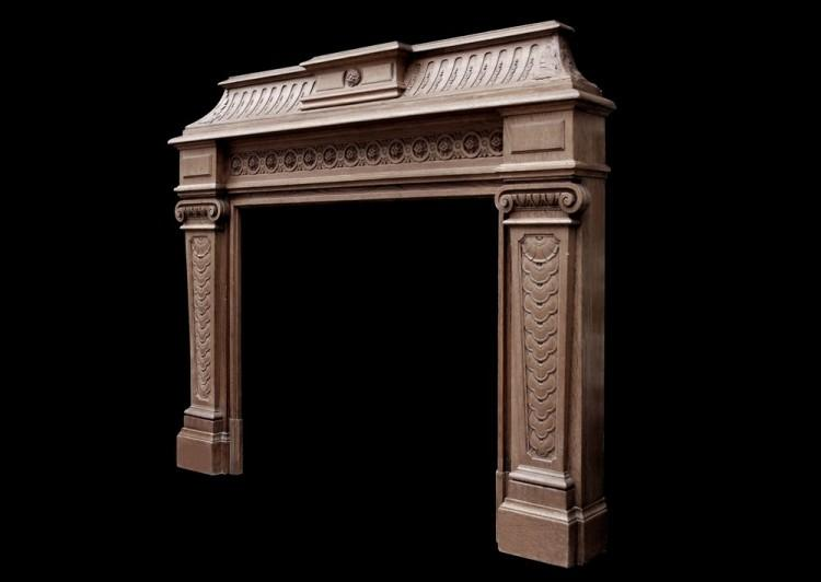 A 19TH CENTURY ANTIQUE FRENCH OAK FIREPLACE-Detail4