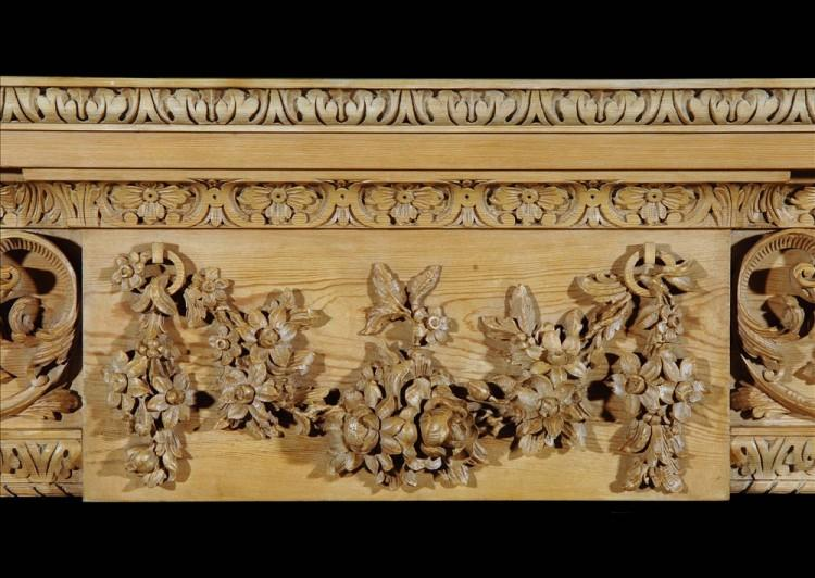 A CARVED ENGLISH GEORGE III STYLE PINE FIREPLACE-Detail1