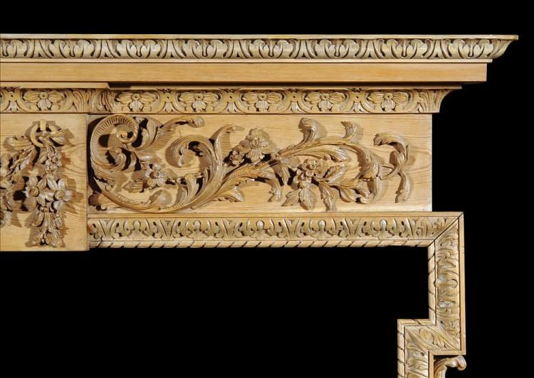 A CARVED ENGLISH GEORGE III STYLE PINE FIREPLACE-Detail2