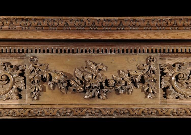 A 19TH CENTURY GEORGE III STYLE PINE CHIMNEYPIECE-Detail1