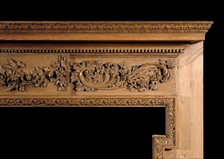 A 19TH CENTURY GEORGE III STYLE PINE CHIMNEYPIECE-Detail2