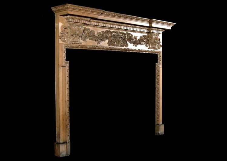 A 19TH CENTURY GEORGE III STYLE PINE CHIMNEYPIECE-Detail3