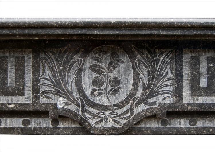 A FRENCH ARTS AND CRAFTS FIREPLACE IN BELGIAN FOSSIL MARBLE-Detail1