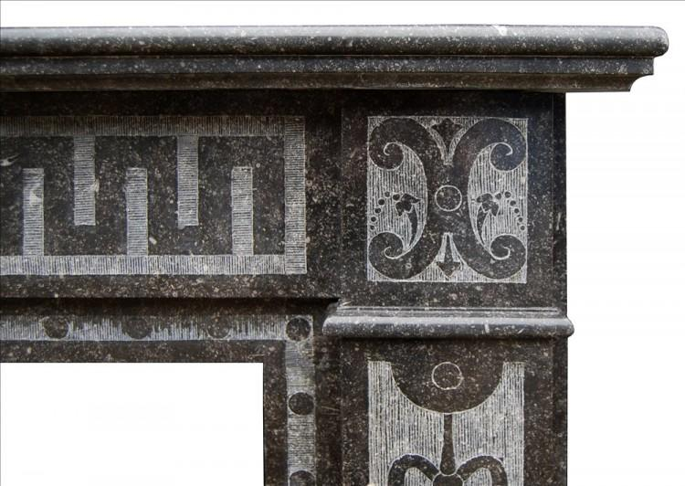 A FRENCH ARTS AND CRAFTS FIREPLACE IN BELGIAN FOSSIL MARBLE-Detail2