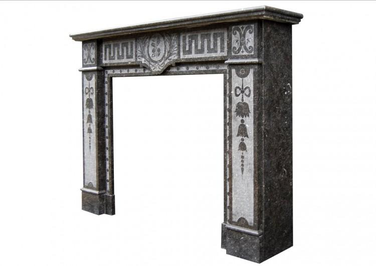 A FRENCH ARTS AND CRAFTS FIREPLACE IN BELGIAN FOSSIL MARBLE-Detail4
